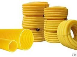 Труба дренажная d 50-200 мм, в бухтах, желтая, с перфорацией