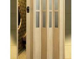 """Двери гармошка с стеклом """"Vinci Decor"""" Мускатный орех"""