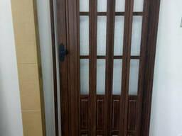 Двери гармошка полуостекленная 860х2030х12мм венге 801. ..