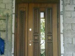 Двері вхідні з МДФ накладками та фрамугою