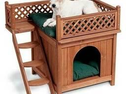 Двухэтажная будка для собаки с лестницей и террасой на верх