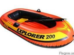 Двухкамерная надувная лодка 185х94х41с надувным дном Intex