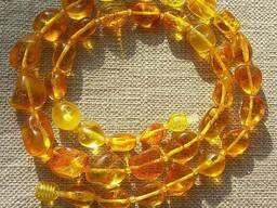 Эксклюзивные янтарные бусы из цельного полированного янтаря