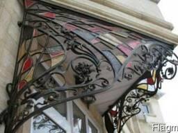 Элитные кованые козырьки,навесы с элементами плазменной резк
