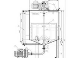 Емкость для подачи ингредиентов 0,2м3 из нержавеющей стали