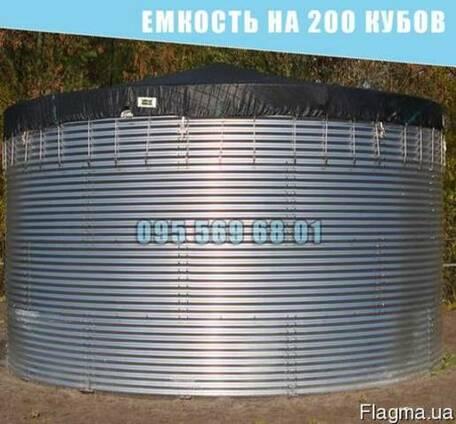 Емкость на 200 кубов для воды, КАС, патоки, резервуар 200