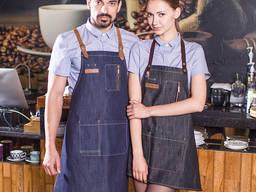 Фартуки джинсовые для официантов барменов нанесение логотипов