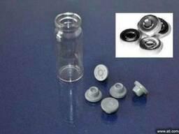 Флакон пенициллиновый, пробка резиновая, колпачок алюминиевы