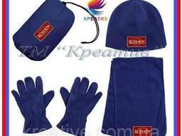 Флисовые шапки и шарфы и перчатки с логотипом (от 50 шт. )