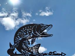 Флюгер на дах будинку Щука, Риба з металу 2 мм (рыба)