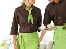 Форма для официантов. рубашка, фартук, галстук