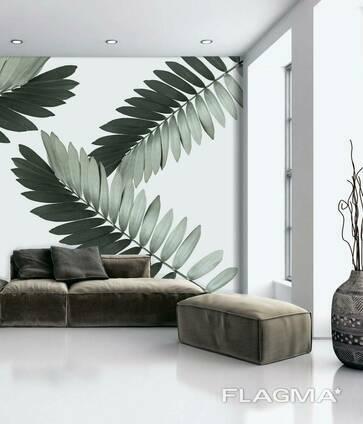 Фотообои флизелиновые структурные в гостиную листья пальмы Замия Palm Zamia Furfuracea. ..