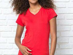 Женская футболка с V-образным воротом цвет красный