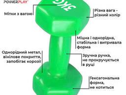 Гантель PowerPlay 4125 вінілова 3 кг Зелена