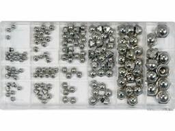 Гайки М3- М10 замкнуті півсферичні YATO в пластиковій коробці; наб. 150 шт.