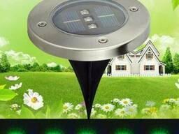 Газонный светильник на солнечной батарее 3LED зеленый