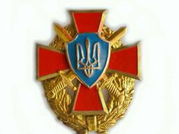 Герб Украины на георгиевском кресте и венке с саблями (крест-оранжевый)