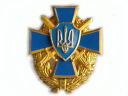 Герб Украины на георгиевском кресте и венке с саблями (крест-синий)