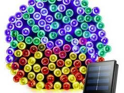 Гирлянда 200 LED 22м RGB мультицветная на солнечной энергии
