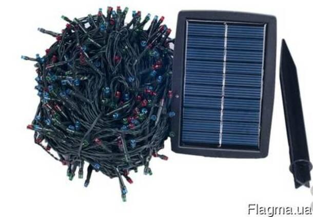Гирлянда 300 LED 30 м на солнечной батарее цветная RGB
