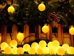 Гирлянда на солнечной батарее Шарики Желтая 50Led светильник
