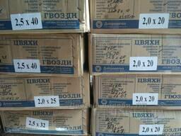 Гвозди строительные и толевые в картонных ящиках по 25 кг