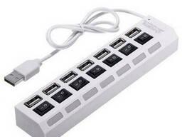 Хаб USB 2.0 7 портов с переключателями на каждый порт, White, 480Mbts High Speed. ..