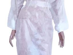 Халат хирургический Белый на завязках с манжетом, спанбонд (5 шт/уп)