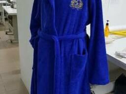 Халат махра цветная с капюшоном, однотон, с логотипом