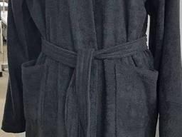 Халат махровый серый кимоно