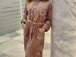 Халат махровый женский длинный на замке 50-58р, доставка. ..