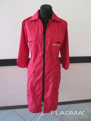 Халат рабочий красный пошив спецодежда халаты любые цвета