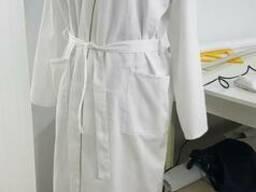 Халат сатин белый, кимоно, для СПА процедур