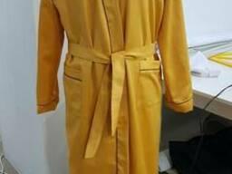 Халат сатиновый золотой с вышивкой