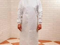 Халат защитный с манжетой ламинированный белый