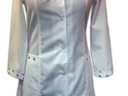 Халат жіночий М10/1Колір:білий із оздобленням екокоттон Тканина - основа. Склад:65% пе, 35
