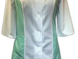 Халат жіночий М10 комбі Колір:білий із салатовим Тканина - основа Склад: 65% пе, 35% бв.