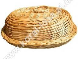 Хлебница плетеная из лозы овальная с крышкой 602-34