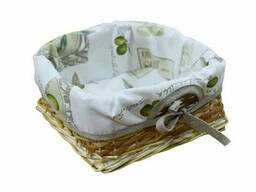 Хлібниця плетена з чохлом Living Оливка 20х20 см SKL58-252137