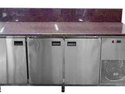 Холодильный стол 3 двери с гранитной столешницой и бортом