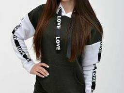 Худи женское 102R021 цвет Серо-белый