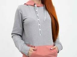 Худи женское 102R051 цвет Серо-розовый