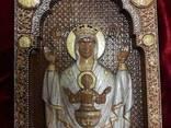 Икона Божией Матери «Неупиваемая чаша» резьба по дереву - фото 1