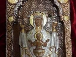 Икона Божией Матери «Неупиваемая чаша» резьба по дереву