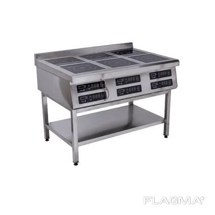 Плита индукционная 6-конфорочная 3,5 кВт напольная 1177х800х850мм