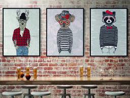 Интерьерная картина на холсте по номерам №3 панно дизайнерское Лось ELK Три друга 70 см. ..