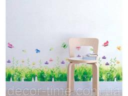 """Интерьерная наклейка на стену, мебель """"Трава с домиками"""". .."""