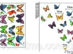 Интерьерные наклейки на стену бабочки 3D (072)