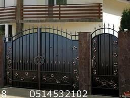 Изготовление ворот из проф листа с художественой ковкой