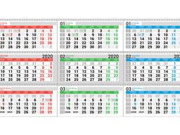 Календарная сетка для настенного квартального календаря. .. .